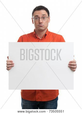 Man Showing Blank White Billboard Sign