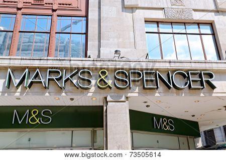 Inscription of an Oxford street branch of MARK & SPENSER