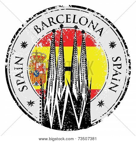 Grunge Rubber Stamp Of Barcelona, Spain, Vector