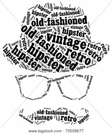 Word cloud illustration related to hipster style