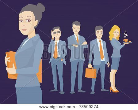 Vector Illustration Portrait Of A Woman Manager Keeps A Folder With Documents In Hands On Dark Backg