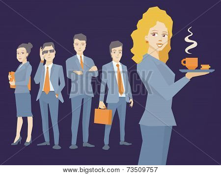 Vector Illustration Of Woman Portrait Secretary With Coffee In Hand On Dark Background Of Business T