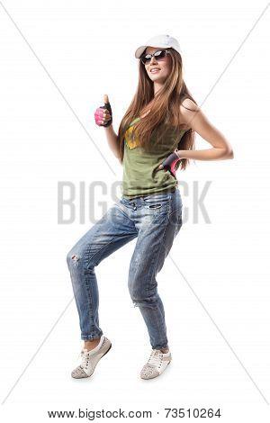 Modern Hip-hop Dance Girl Thumbs Up Isolated