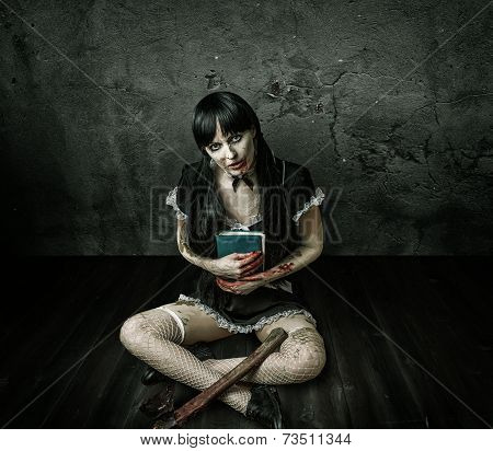 Evil Woman Holding Book And  Bloody Ax