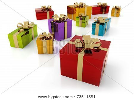 colorful parcels with golden ribbon