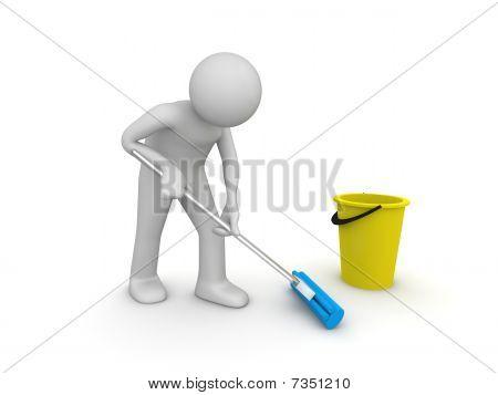 Líquido de limpeza no local de trabalho