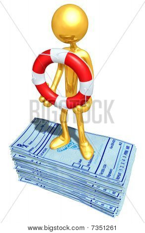 Gold Guy With Life Ring On Medical Prescriptions