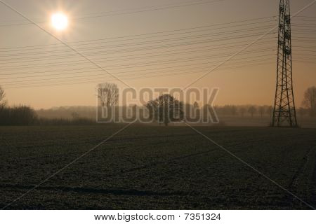 Autumn Sunset With Power Line