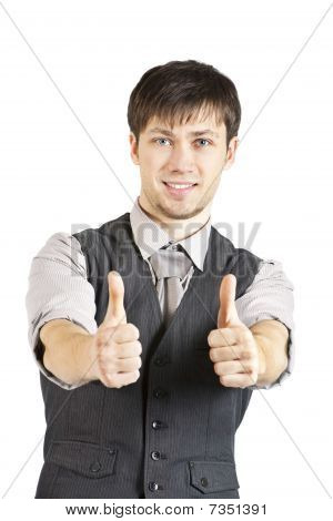 Young Businessman With Thumbs Up. Isolated