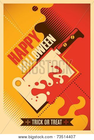 Halloween poster with bloody meat chopper. Vector illustration.