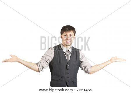 Young Businessman Shrugging His Shoulders. Isolated