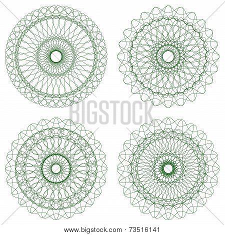 Set of Green Vector Guilloche Rosettes