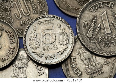 Coins of India. Floral motif depicted in the Indian five rupees coin.