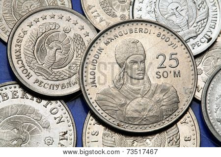 Coins of Uzbekistan. Khwarezmian ruler Jalal ad-Din Manguberdi depicted in the Uzbekistani 25 som coin.