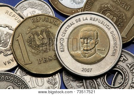 Coins of the Dominican Republic. Dominican national hero Matias Ramon Mella depicted in the Dominican ten peso coin.