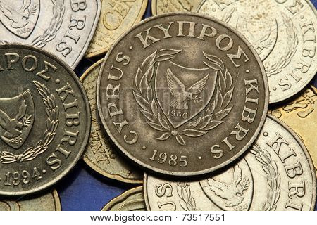 Coins of Cyprus. The coat of arms of the Republic of Cyprus depicted in the old Cypriot cent coins.