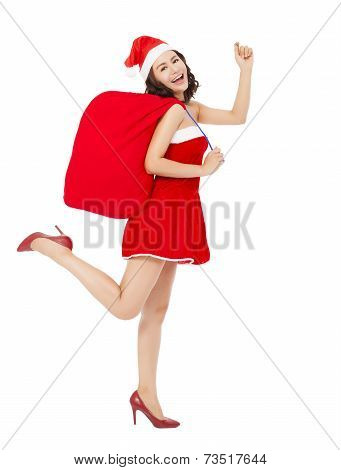 Happy Young  Girl Holding A Gift Bag And Running To Deliver