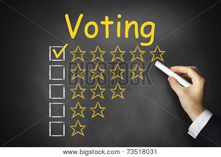 Hand Writing Voting On Chalkboard