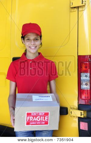 Delivery Courier Or Mailman Delivering Postal Packages