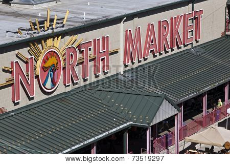 COLUMBUS, OHIO-September 27, 2014:  The historic North Market has a booming farmers market in columbus, Ohio on Saturdays.