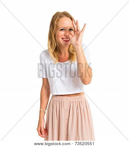 Girl Making A Joke Over White Background