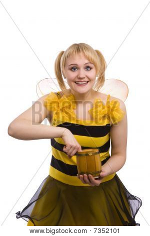 Bee Costumes Woman Is Eating Honey.