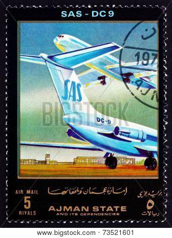 Postage Stamp Ajman 1972 Dc 9, Sas, Airliner
