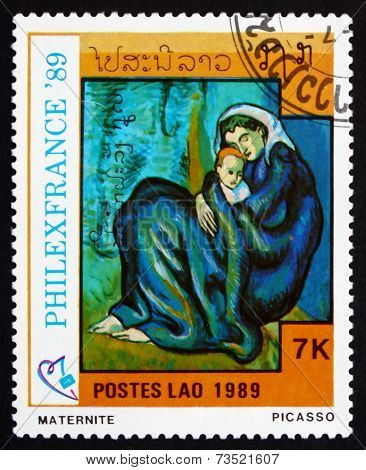 Postage Stamp Laos 1989 Maternity, Painting By Picasso