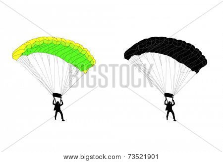 skydiver silhouette and illustration
