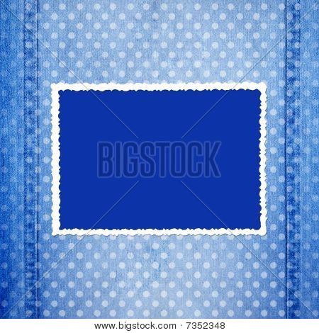 Abstract Blue Jeans Background With Fretted Frame