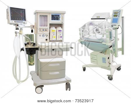 infant incubator under the the white background
