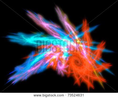 Multicolored glowing abstraction curl in the form of shells on dark grounds