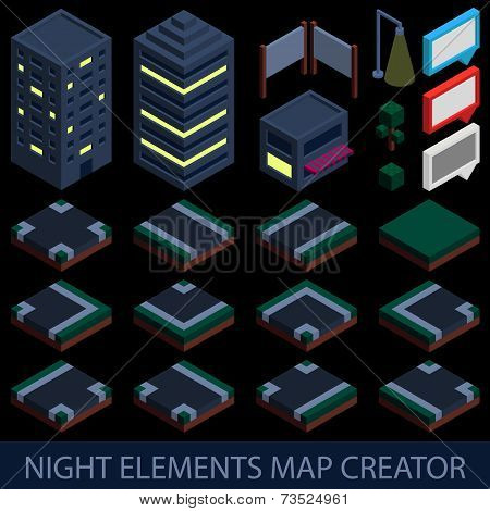 Isometric night elements map creator