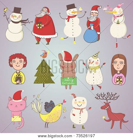 Cute Christmas set in vector. Cartoon characters in holiday style. Santa, snowman, rabbit, bird, deer, boy, girl and others