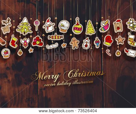 Christmas Set of Icons, Labels and Xmas Elements, Blurred Snowflakes, vector. Christmas Tree Paper Toys and Decorations. Template for Holiday Poster, Banner, Placard or Card. Wood Texture Background.
