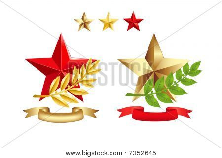 Signs Set (Stars, Laurel Branches and Ribbons)