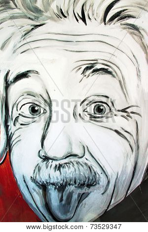 Graffiti Albert Einstein Portrait