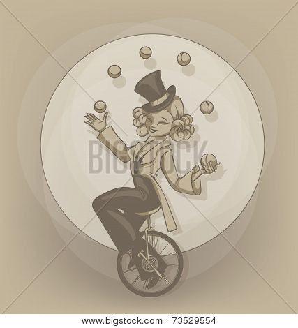 Pinup equilibrist juggling balls