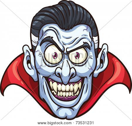 Vampire face. Vector clip art illustration with simple gradients. All in a single layer.