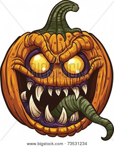 Halloween pumpkin monster. Vector clip art illustration with simple gradients. All in a single layer.