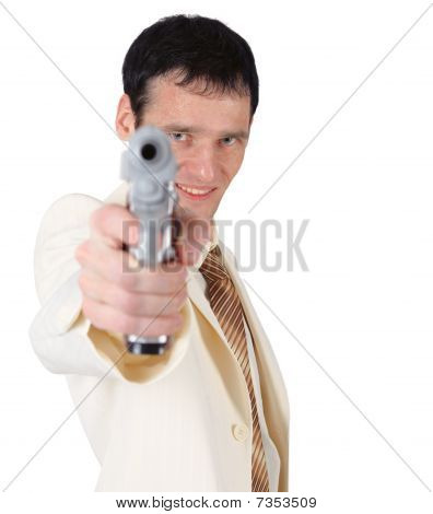 Young Man In White Suit With Pistol