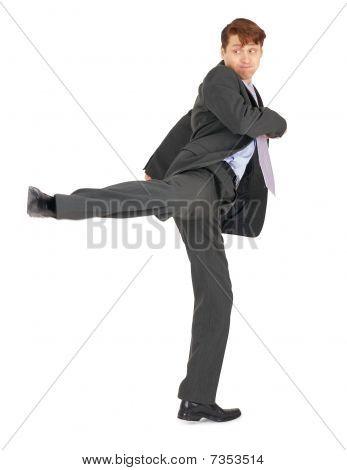 Businessman Showing Karate Kick