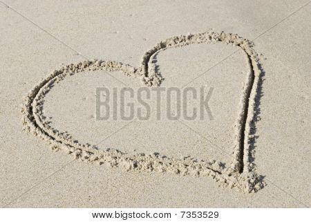 Heart Shape Drawn On Beach