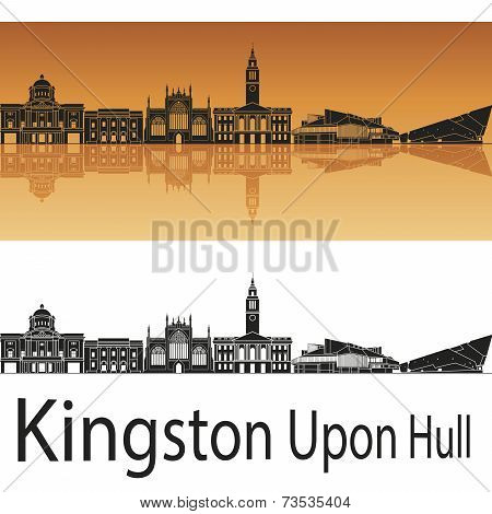 Kingston Upon Hull Skyline In Orange Background