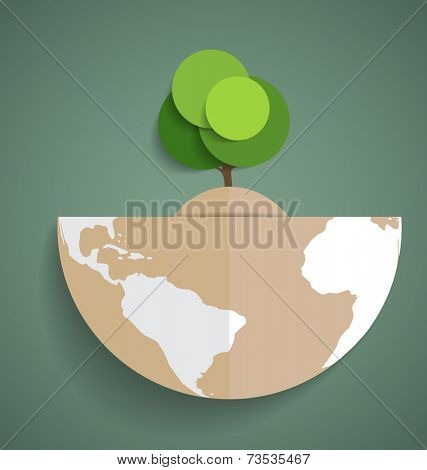 Green Eco Earth, Paper green tree on globe, vector illustration.