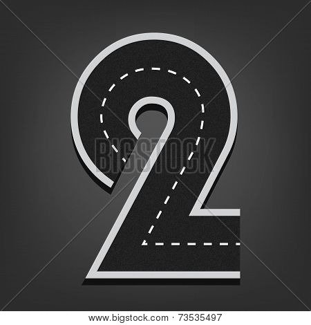 Two number. Road font
