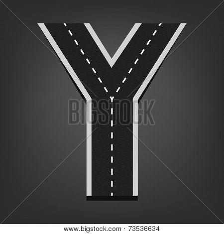 Y letter. Road font