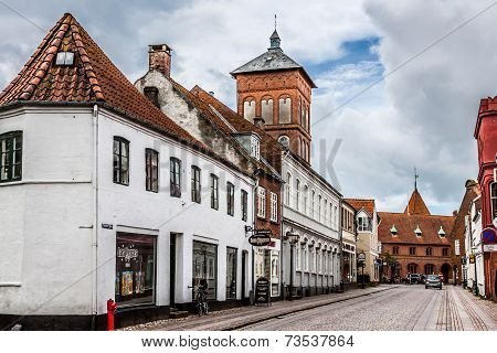 Empty Morning Street With Old Houses From Royal Town Ribe In Denmark 19Th March 2013