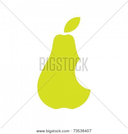 A green pear with a bite taken from it. Minimalistic image over white background.