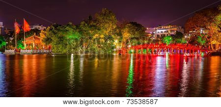 Hanoi Hoan Kiem Lake And Huc Bridge At Night, Vietnam